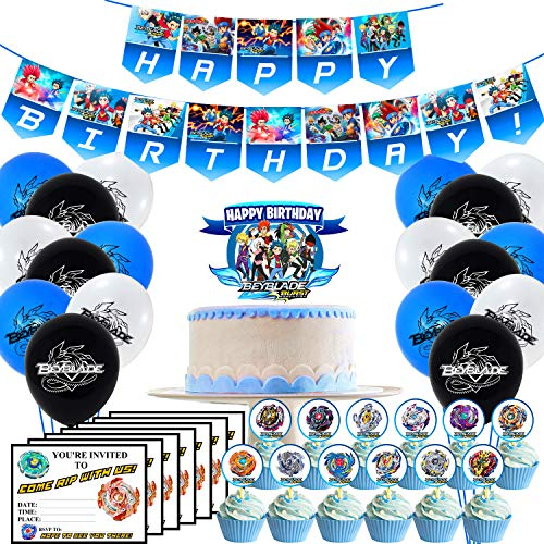 Birthday Party Supplies Include Banner – 24 Cupcake Toppers – Cake Topper – 18 Balloons – 15 Invitations Card for Beyblade