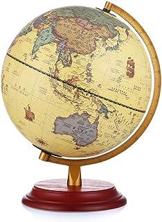 地球儀 ワールドグローブ、レトロスタイルの地理アースグローブLEDクラフトデコレーションリビングルームスタディオフィスホームデコレーションギフト、25cm-ライト