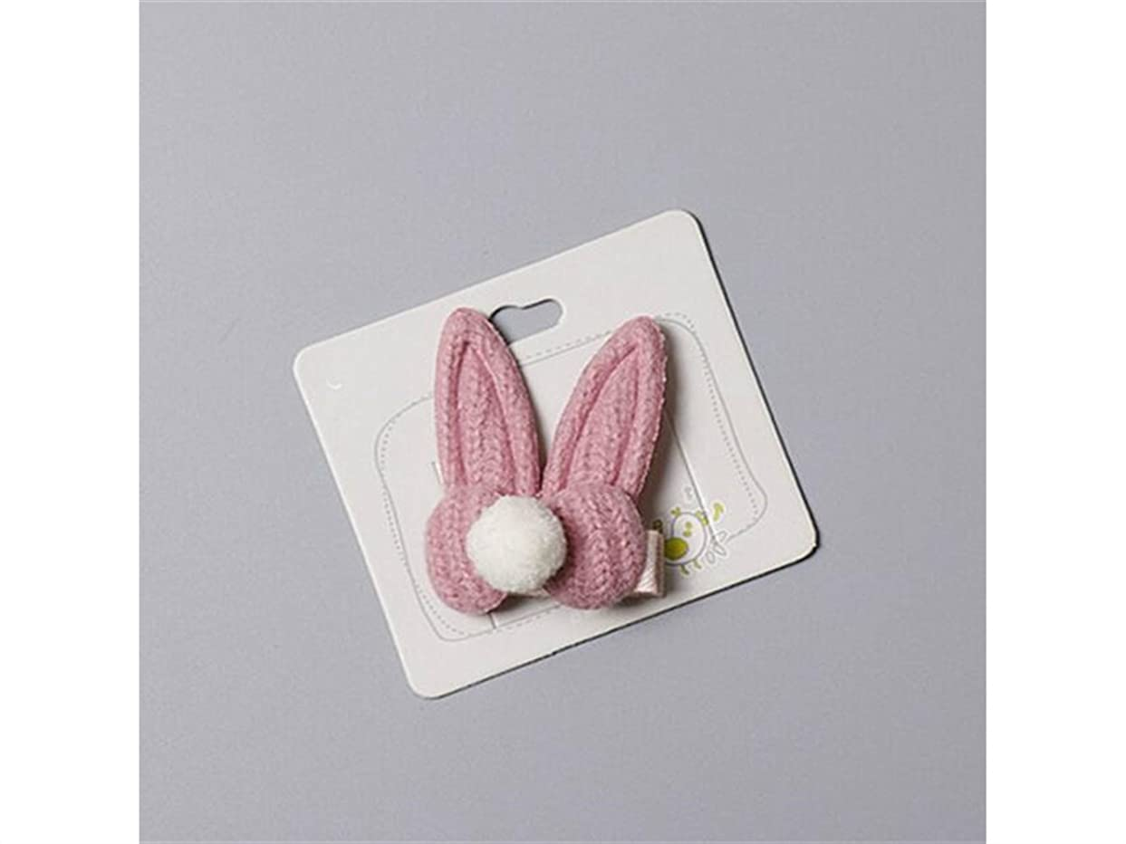 エンディング懐保安Osize 美しいスタイル ファッションウサギの耳毛のボールヘアクリップサイドクリップヘアピンヘアアクセサリー(ピンク)