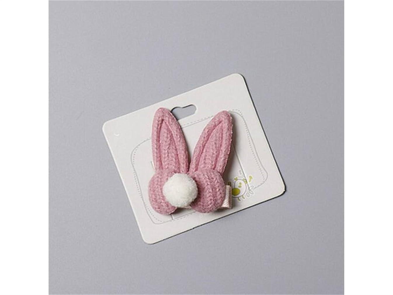 転用靴ピンポイントOsize 美しいスタイル ファッションウサギの耳毛のボールヘアクリップサイドクリップヘアピンヘアアクセサリー(ピンク)