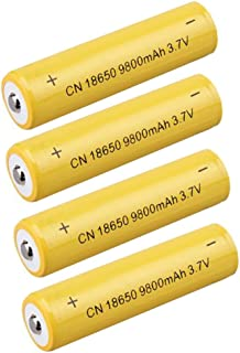 4 Pcs Button Top 18650 Batteries 3.7V 9800mAH High-Capacity Lithium Rechargeable Battery for LED Lights/Toys/MP3/TV Remote Controls/Alarm Clocks/Flashlight Torch/not aa Battery, not Flat Top