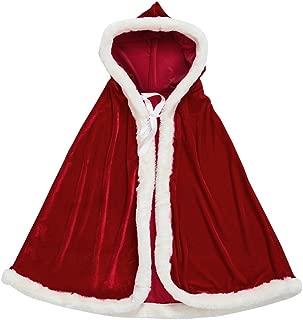 Mrs Santa Claus Costume,Santa Cape Xmas Costumes,Velvet Hooded Cloak Robe Christmas Women Girls
