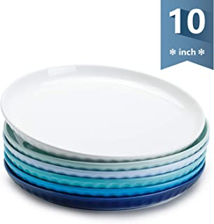 Sweese 156.003 Porcelain Fluted Dinner Plates - 10 Inch - Set of 6, Cool Assorted Colors