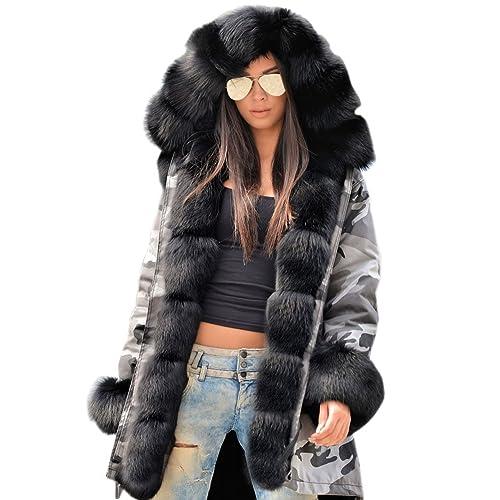 70c55a68e0420 Roiii Plus Size 8-20 Women Winter Long Sleeve Thicken Hooded Parka Coat  Jacket