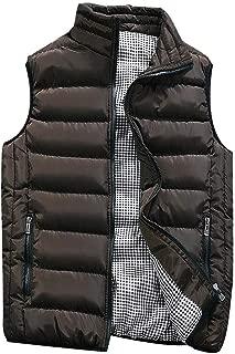 KLGDA_Mens Outerwear Men's Down Cotton Vest Big & Tall Autumn Winter Padded Waistcoat Casual Stand Collar Coats KLGDA