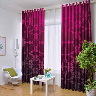 Indoor/Outdoor Single Panel print Window Curtain Magenta,Victorian Stylized Classical Bound Ornamental Mosaic Patterns in Nostalgic Design,Rosewood,W96