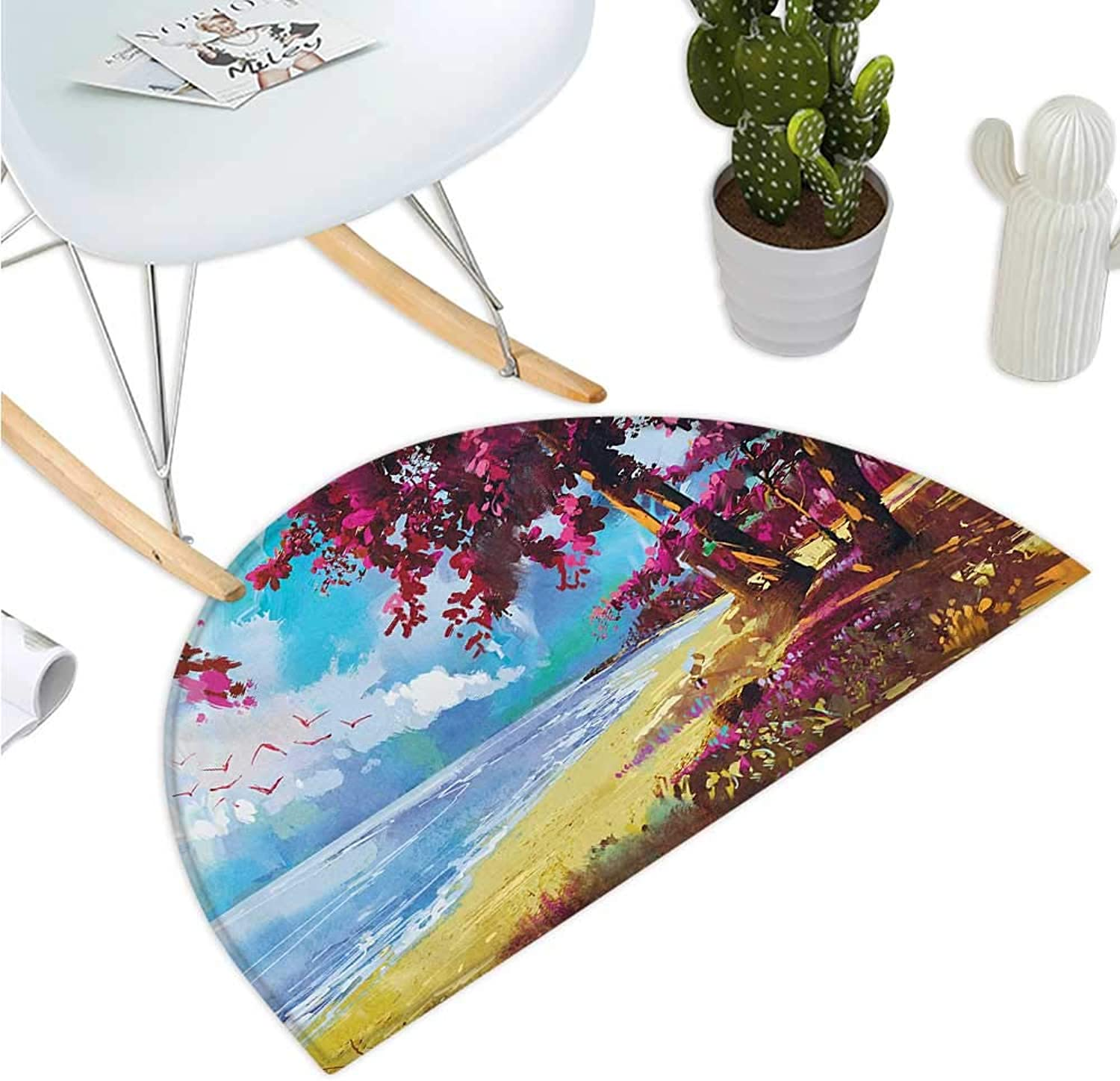 Seascape Semicircular Cushion Floral colord Blossom Trees on Tropic Sandy Beach Seascape Summer Print Bathroom Mat H 35.4  xD 53.1  bluee Pink Cream