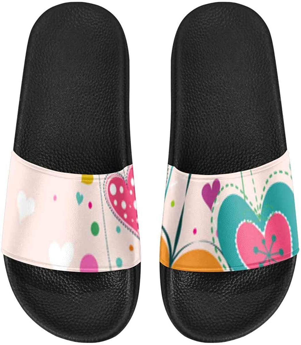 InterestPrint Women's Slide Sandals with PVC Straps and Sole Uni