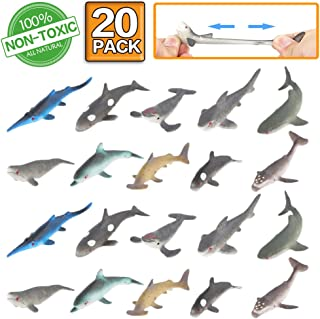 ValeforToy Shark Toy Figure, 20 Pack Rubber Bath Toy Set,Food Grade Material TPR Super Stretchy, Ocean Sea Animal Squishy Floating Bathtub Toy Party Favors,Realistic Shark Dolphin Whale Figure