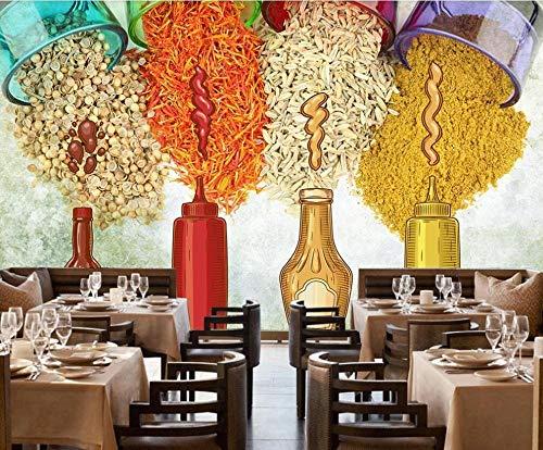 ZGHONG 3D-behang groot gepersonaliseerde wand sausen nostalgie saus kruiden keuken restaurant muur decoratie schilderij 250 x 175 cm (98,4 bij 68,9 inch)