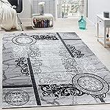Paco Home Alfombra De Diseo Moderna Mezclada Floral con Estampado Meandro De Crculos Grises Y Negros, tamao:120x170 cm