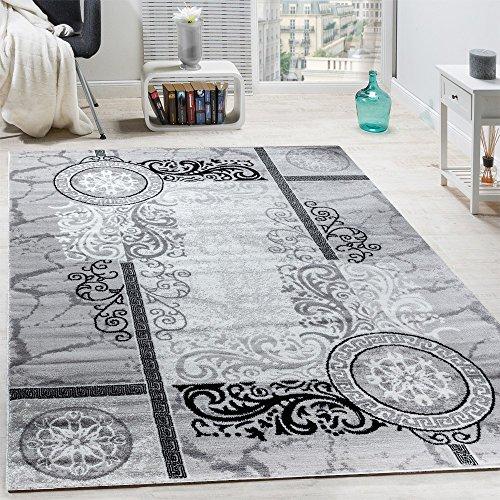 Paco Home Designer Teppich Modern Meliert Floral mit Mäander Muster Kreise Grau Schwarz, Grösse:200x280 cm