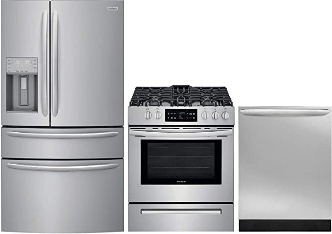 Amazon Com Frigidaire 3 Piece Kitchen Appliance Package With Fg4h2272uf 36 French Door Refrigerator Ffgh3054us 30 Slide In Gas Range And Fgid2466qf 24 Built In Fully Integrated Dishwasher In Stainless Steel Appliances