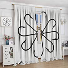 Fishing 99% Blackout Curtains Flower Shaped Artisan Steel Multi Hook Gaff in Row New Needle Device Figure Print for Bedroom Kindergarten Living Room W96 x L108 Inch Black White