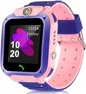 MIFXIN Kids Smart Watch Multifunctional Touchscreen Wristband with GPS Tracker Phone Call Camera SOS Flashlight Children Digital Sport Smart Watch Phone for Boys Girls Kids Gift (Pink + Purple)