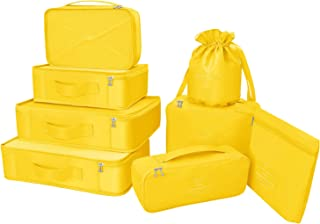 Packing Cubes 8 Sets Latest Design Travel Luggage Organizers Include Waterproof Shoe Storage Bag Convenient Packing Pouches for Traveller (Yellow)