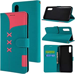 SHUHAN Mobile Phone Case for Galaxy Fabric Stitching Embroidery Horizontal Flip Leather Case With Holder & Card Slots & Wallet for Galaxy A50(Red) (Color : Light Blue)