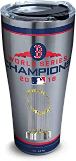 Tervis 1316126 MLB Boston Red Sox 2018 World Series Champions Insulated Tumbler with Clear and Black Hammer Lid, 30oz Stainless Steel, Silver