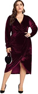 Women's Plus Size High Waist Velvet Sexy Faux Wrap Pencil Cocktail Midi Dresses