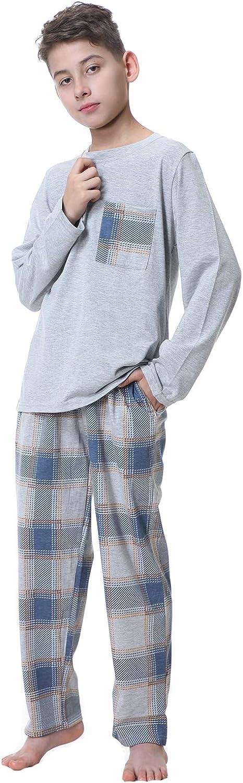 Big Boys Classic Plaid Pajama Set Cotton Sleepwear Teens 10-20Years