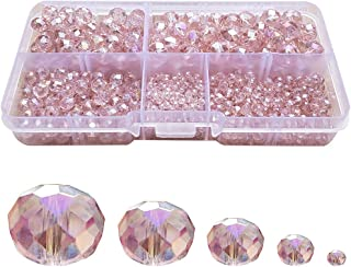 Chengmu 2-10mm Light Pink Rondelle Glass Beads for Jewelry Making AB Colour 710pcs Faceted Briolette Shape Crytal Spacer Beads Assortments Supplies for Bracelet Necklace with Elastic Cord Storage Box