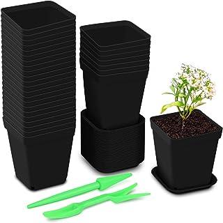 3 x Mini Square Plastic Plant Flower Pot Black Office Decor Planter