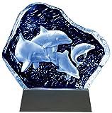 Kaltner Präsente Geschenkidee - Aufsteller Figur Skulptur Ornament aus Glas Motiv Delfine mit LED...
