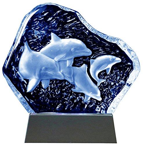 Kaltner Präsente Geschenkidee - Aufsteller Figur Skulptur Ornament aus Glas Motiv Delfine mit LED Beleuchtung