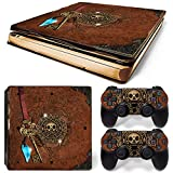ZOOMHITSKINS PS4 Slim Skins, Pirate Skull Book Map Treasure Adventure Ancient Ocean Sea Gem, High Quality, Durable, Bubble-free Goo-free,Cover Set of 2 Controller Skins 1 Console Skin, Made in USA