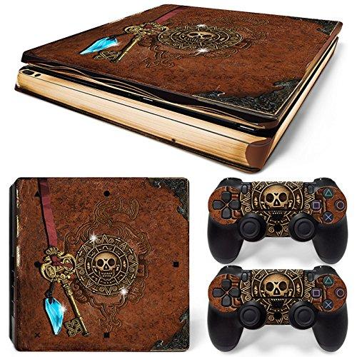 46 North Design Playstation 4 PS4 Slim Folie Skin Sticker Konsole Old Book Treasure aus Vinyl-Folie Aufkleber Und 2 x Controller folie