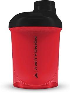 Protein Shaker Protein Shake Deluxe 400 ml Nano - batidor de proteínas a prueba de fugas, sin BPA con tamiz y escala para batidos cremosos de proteína de suero de leche en polvo - rojo negro