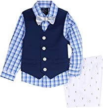 Nautica Baby Boys 4-Piece Set with Dress Shirt, Vest, Shorts, and Bow Tie
