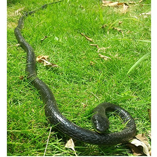 Realistic Rubber Black Mamba Snake Toy 52 Inch Long