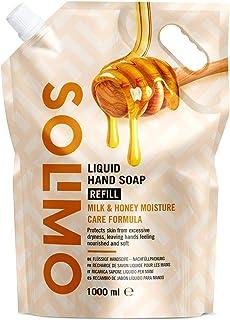 Marca Amazon - Solimo Recambio de jabón líquido para manos. Fórmula cuidado hidratante a la leche y miel- 1000ml
