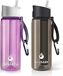 SurviMate - Botella de agua purificada para camping, senderismo, mochila y viajes, sin BPA con pajita de filtro integrada ...
