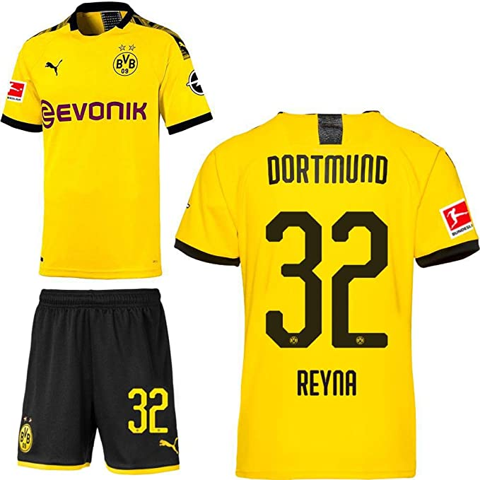 Puma Borussia Dortmund BVB Home set 2019 2020 Home Kit maglia pantaloncini uomo bambino nome giallo