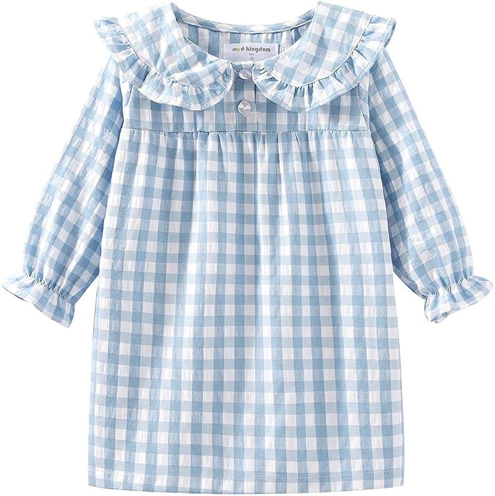 Mud Kingdom Little Girls Ruffle Collar Nightgowns Plaid Long Sleeve Blue 7-8 Years