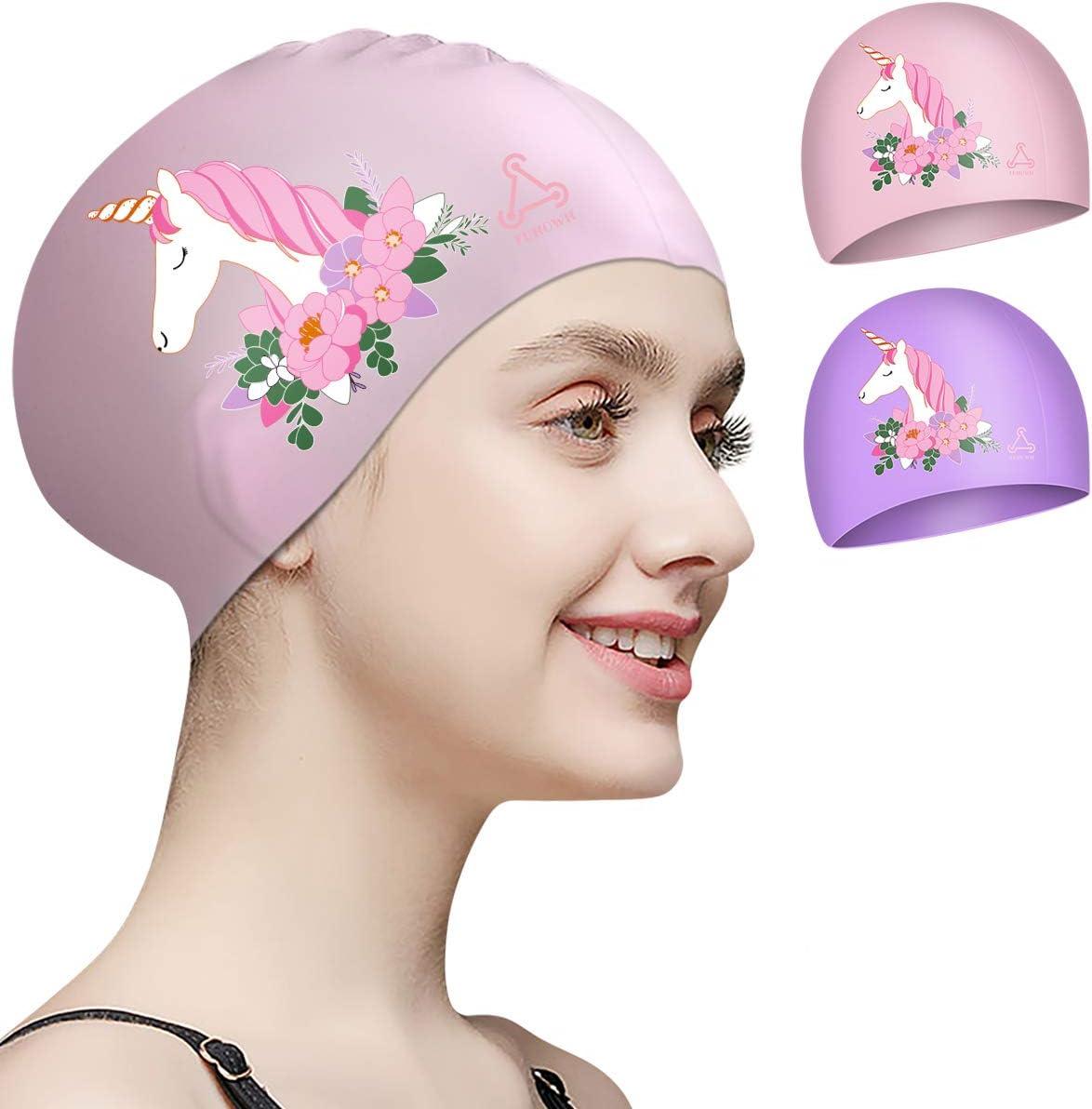 FUNOWN Swim Caps for Women Swimming Cap 3D Ergonomic Design Comfortable Durable Ear Protection for Women Kids Men Adults Boys Girls for Long or Short Hair with Unicorn Design