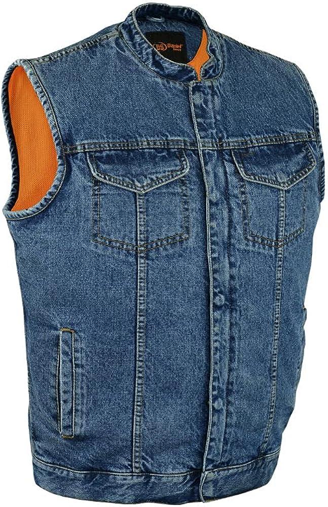 Daniel Smart Men's Denim Vest with Concealed Snap Closure & Hidden Zipper Cop