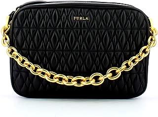 Furla Women's Cometa Onyx Black Leather Crossbody Bag Handbag Large