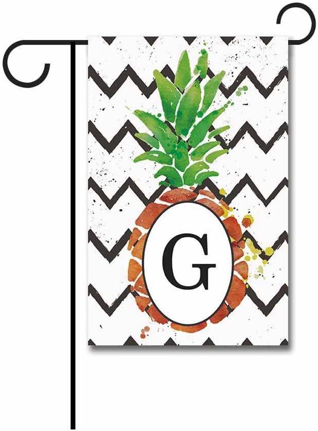 KafePross Pineapple with Stripes Summer Garden Flag G Today's Columbus Mall only 1 Monogram