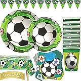 Duocute Forniture per Feste di Calcio Set 102 Pezzi Servizio da Tavola Tema Sportivo per Compleanno Bambini Stoviglie Include Piatti Tazze Tovaglioli Tovaglia e Banner(25 Ospiti)