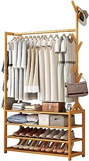 GWLGWL Portant Penderie à Vêtements en Bois, Bambou Porte-Manteaux avec 4 étagères Crochet à Vêtements et Porte-Pantalons,...