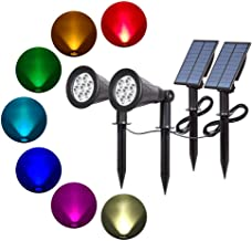 T-SUN Solar Spotlights 7 LED Color Changing Solar Lights Landscape Outdoor Spotlight Wall Light Waterproof Separately Inst...