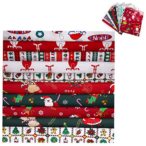 30 Pieces Christmas Cotton Fabric Fat Quarters Fabric Squares Fabric Bundles Craft Cotton Quilting Fabric Sewing Squares Bundle for Christmas DIY Quilting(10 x10 inches)