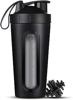 ONEISALL BL853 Protein Shaker Bottle, Stainless Steel Sports Water Bottle Shaker Cup, Visible Window, Leak Proof, 28-Ounce, BPA Free, 0.36KG