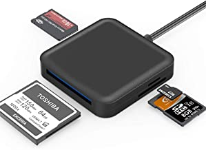 SD Card Reader, Highwings USB 3.0 CF Memory Card Reader 4 in 1 Super Speed&High Capacity SD/Micro SD Card Reader Adapter for Micro SD/SDXC/CF/SD/SDHC/MS/TF for Mac OS,Windows (Frosted Black)