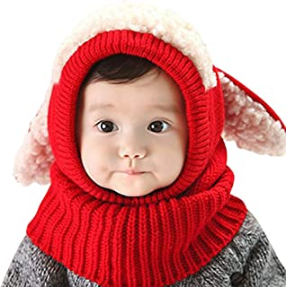 iHomey Baby Girls Boys Winter Knit Scarf Hat Warm Earflap Cap for Kids 6-36 fbd7c02892b6