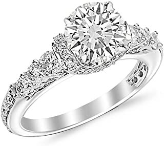 2 Carat Round Cut Designer Four Prong Round Diamond Engagement Ring (I-J Color, SI2 Clarity)