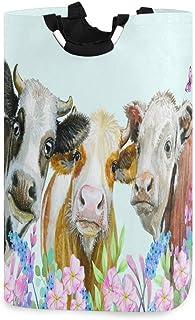 N\A Panier à Linge à Fleurs Aquarelle Animaux Trois Vaches avec poignées Panier de Rangement Pliable étanche Grand bac à v...